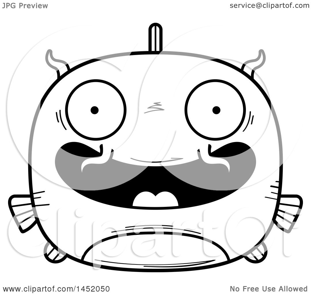 Clipart Graphic of a Cartoon Black and White Lineart Happy Catfish ...