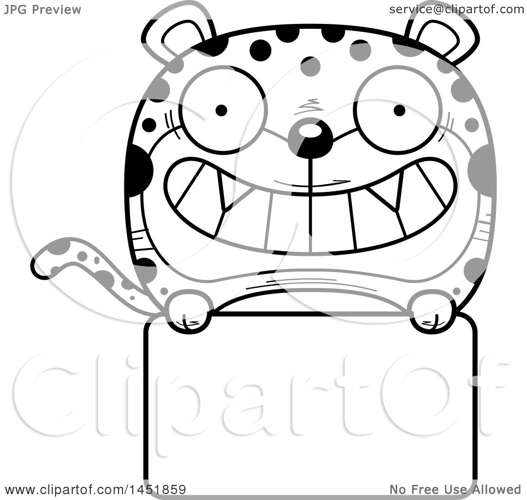 Clipart Graphic of a Cartoon Black and White Lineart Leopard ... for Leopard Clipart Black And White  45gtk