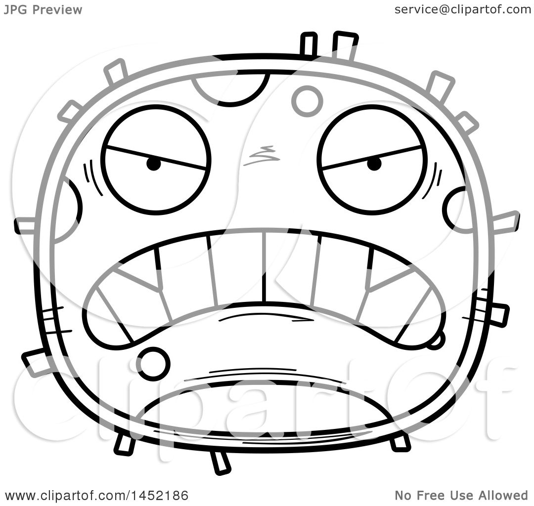 clipart graphic of a cartoon black and white lineart mad germ
