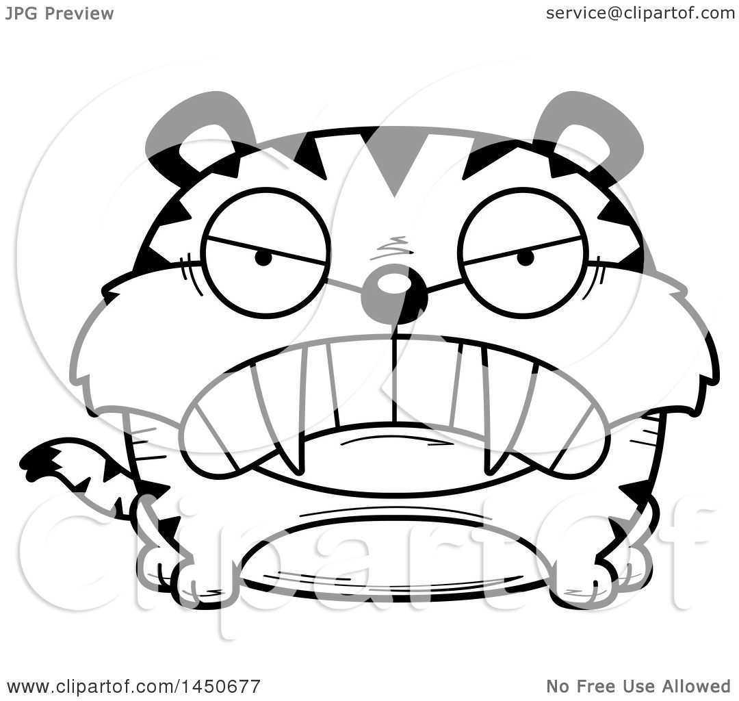 clipart graphic of a cartoon black and white lineart mad saber