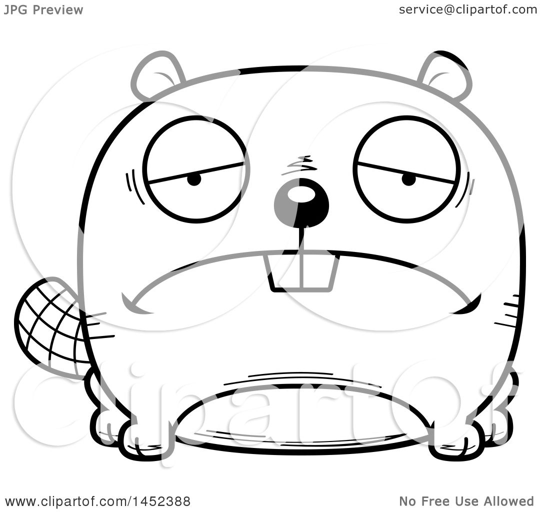 clipart graphic of a cartoon black and white lineart sad beaver