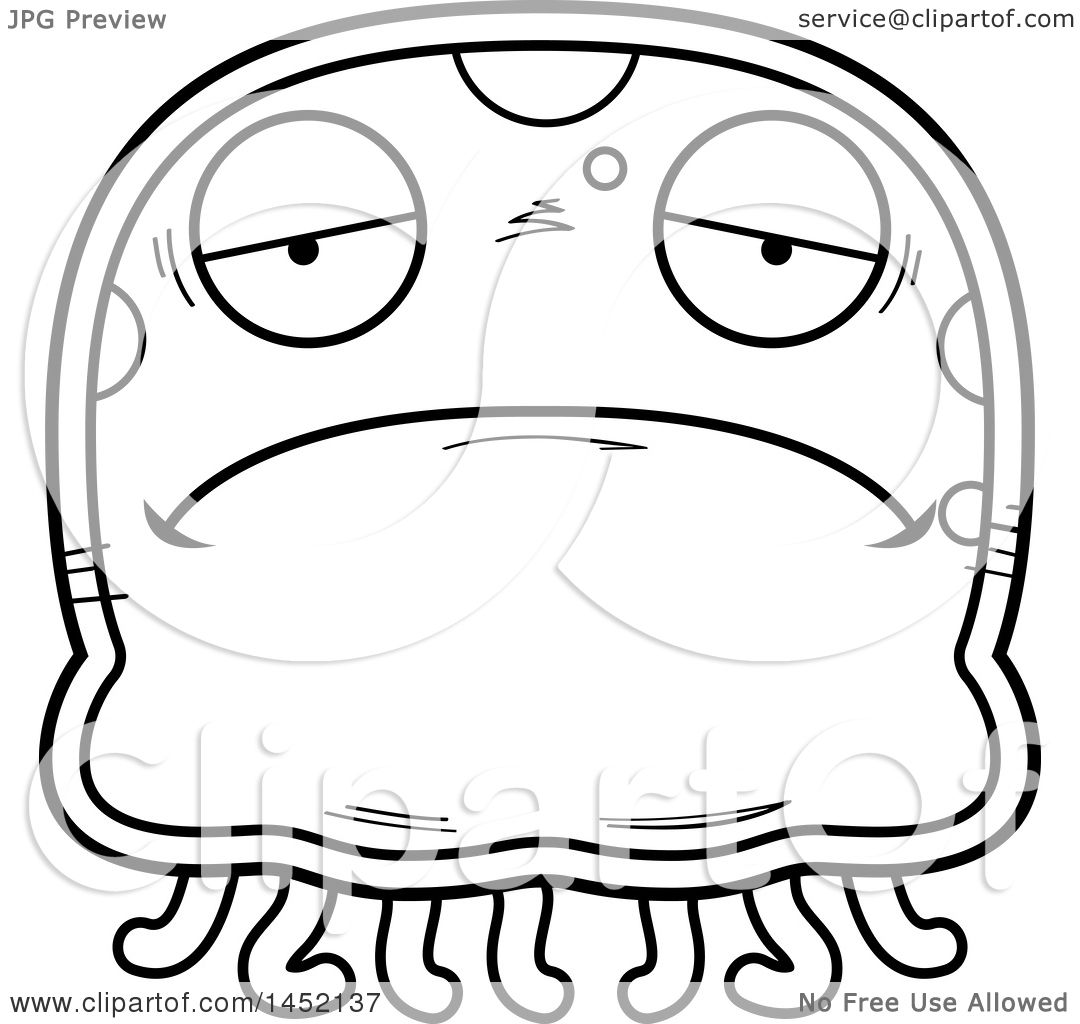 Clipart Graphic of a Cartoon Black and White Lineart Sad Jellyfish ... for Clipart Jellyfish Black And White  5lp5wja