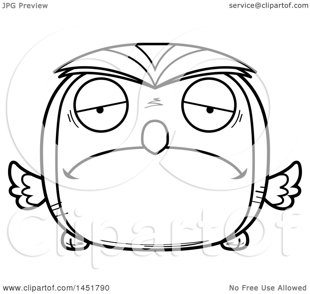 clipart graphic of a cartoon black and white lineart sad owl