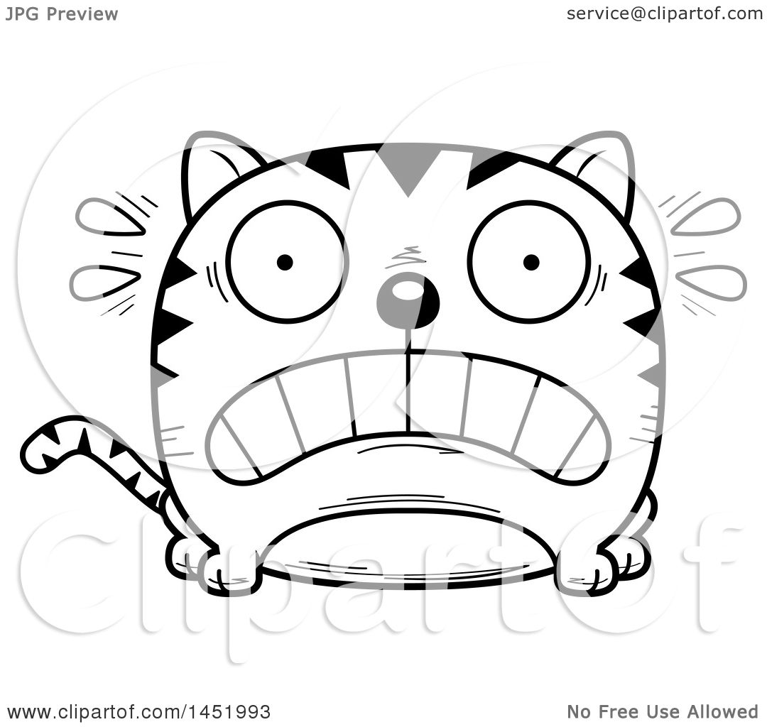 Clipart Graphic Of A Cartoon Black And White Lineart Scared Tabby