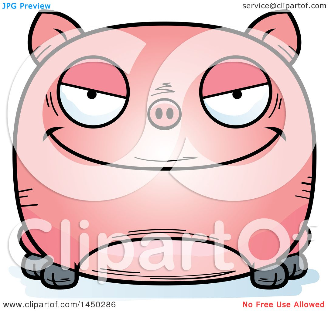 Clipart Graphic of a Cartoon Evil Pig Character Mascot ...