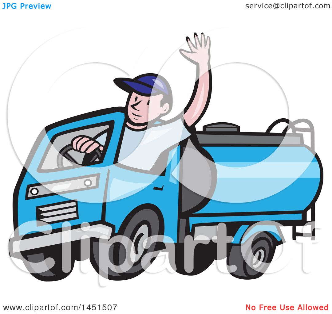 clipart graphic of a cartoon friendly caucasian male driver waving