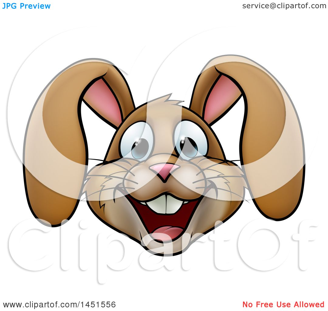 clipart graphic of a cartoon happy brown easter bunny rabbit face
