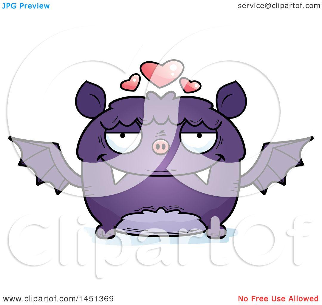 clipart graphic of a cartoon loving flying bat character mascot