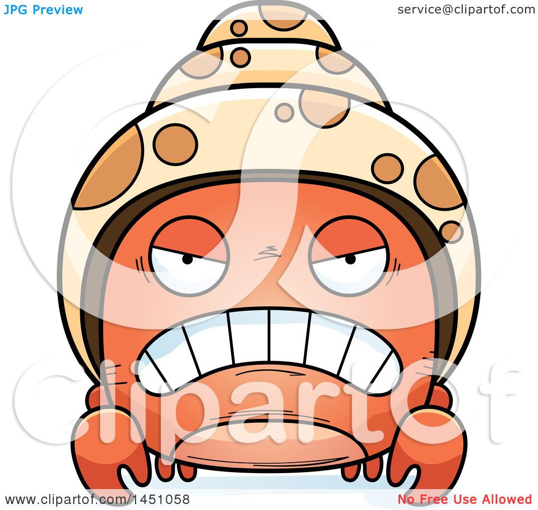 clipart graphic of a cartoon mad hermit crab character mascot