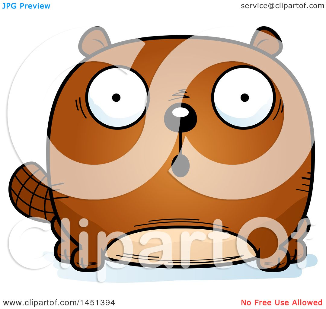 Clipart Graphic of a Cartoon Surprised Beaver Character Mascot ...