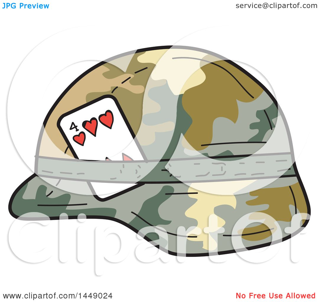 Clipart Graphic of a Cartoon Us Army Kevlar Combat Helmet