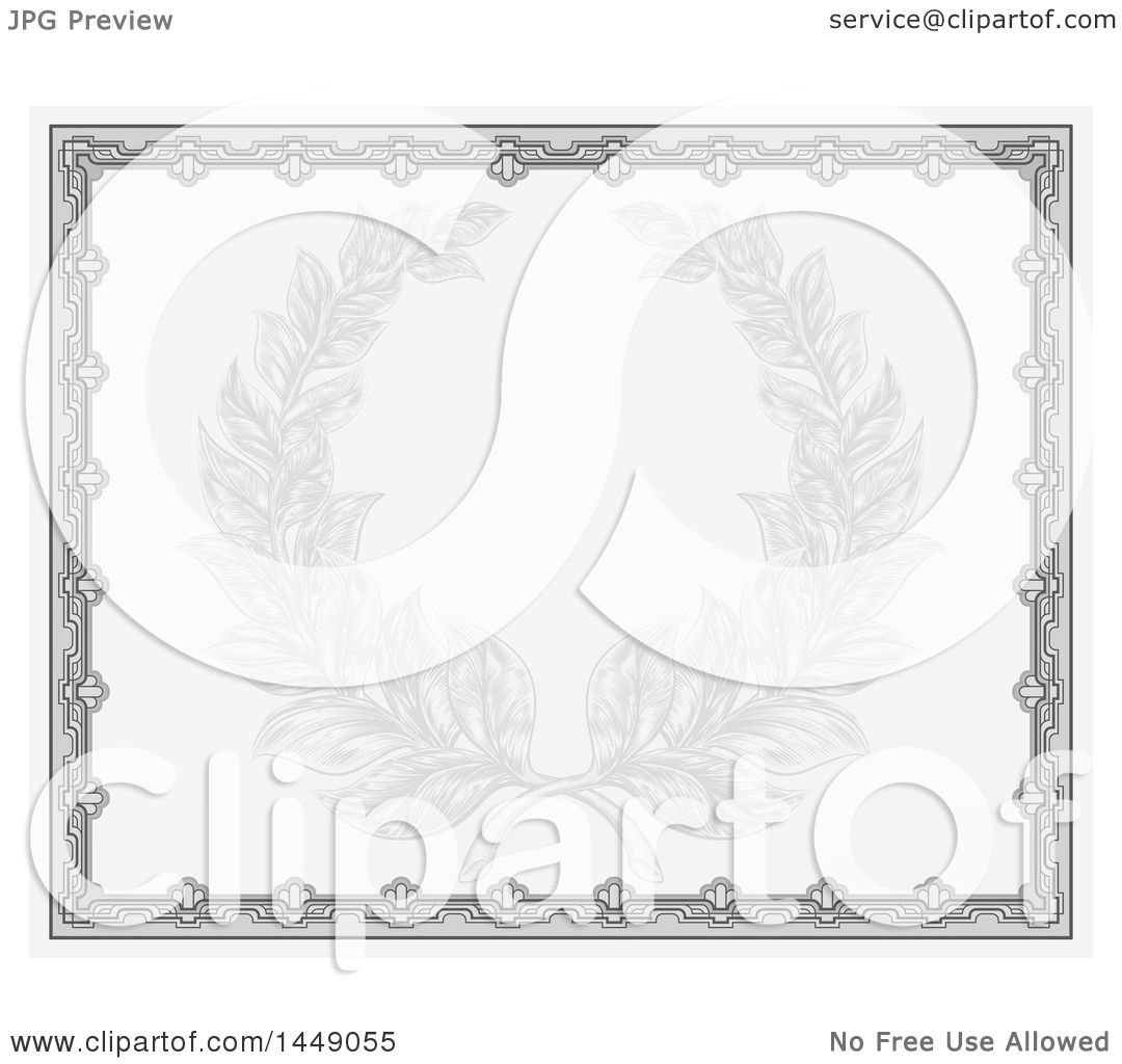 Clipart Graphic Of A Faded Engraved Laurel Wreath In A Green