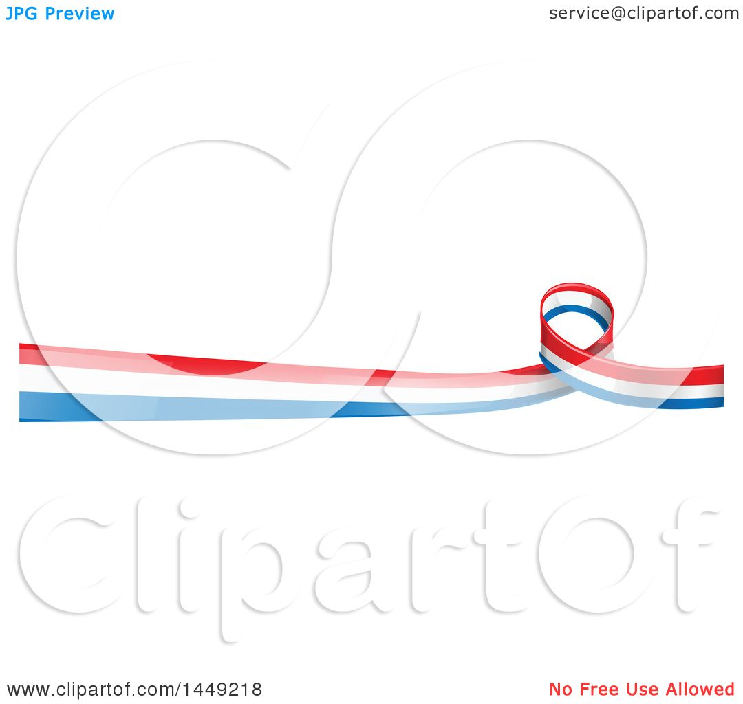 Clipart Graphic Of A French Ribbon Flag Border Design Element