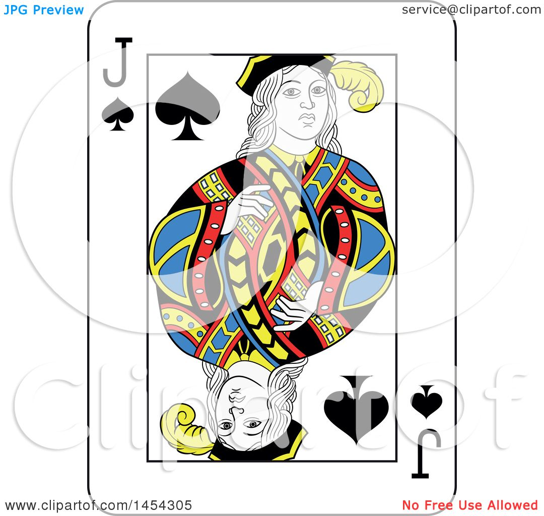 Clipart Graphic Of A French Styled Jack Spades Playing Card Design