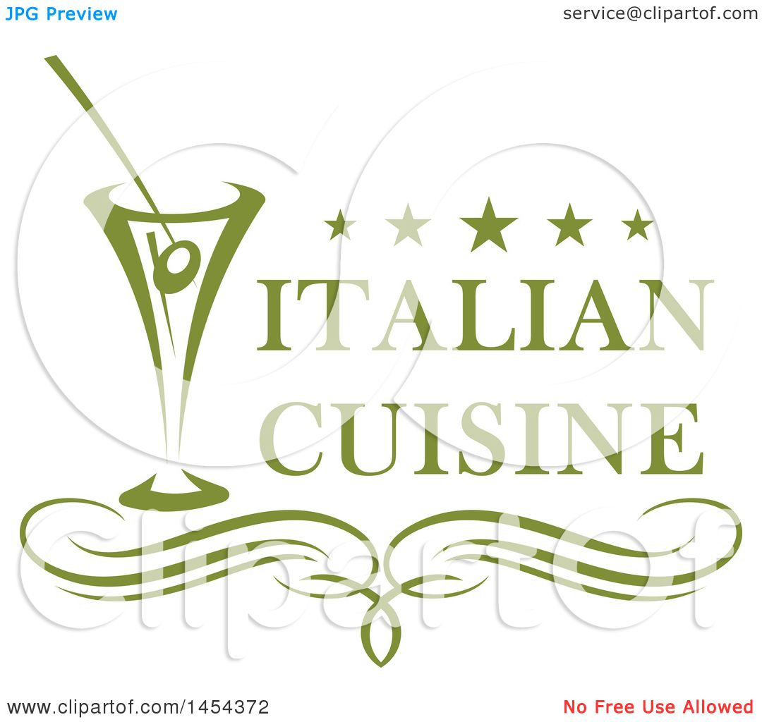 Italian Restaurant Logo With Flag: Clipart Graphic Of A Green Cocktail And Italian Cuisine