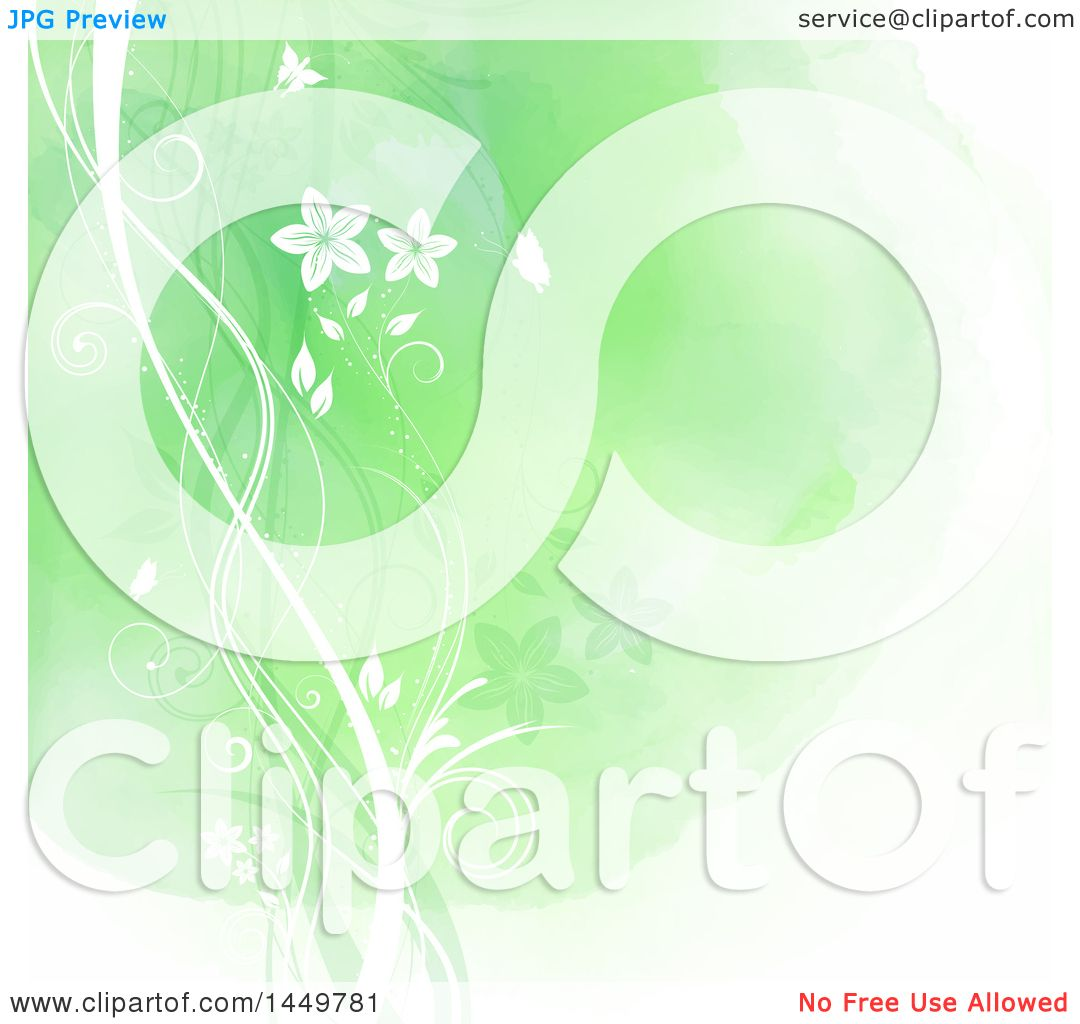 Clipart Graphic of a Green Watercolor Floral Background with Butterflies -  Royalty Free Vector Illustration by KJ Pargeter