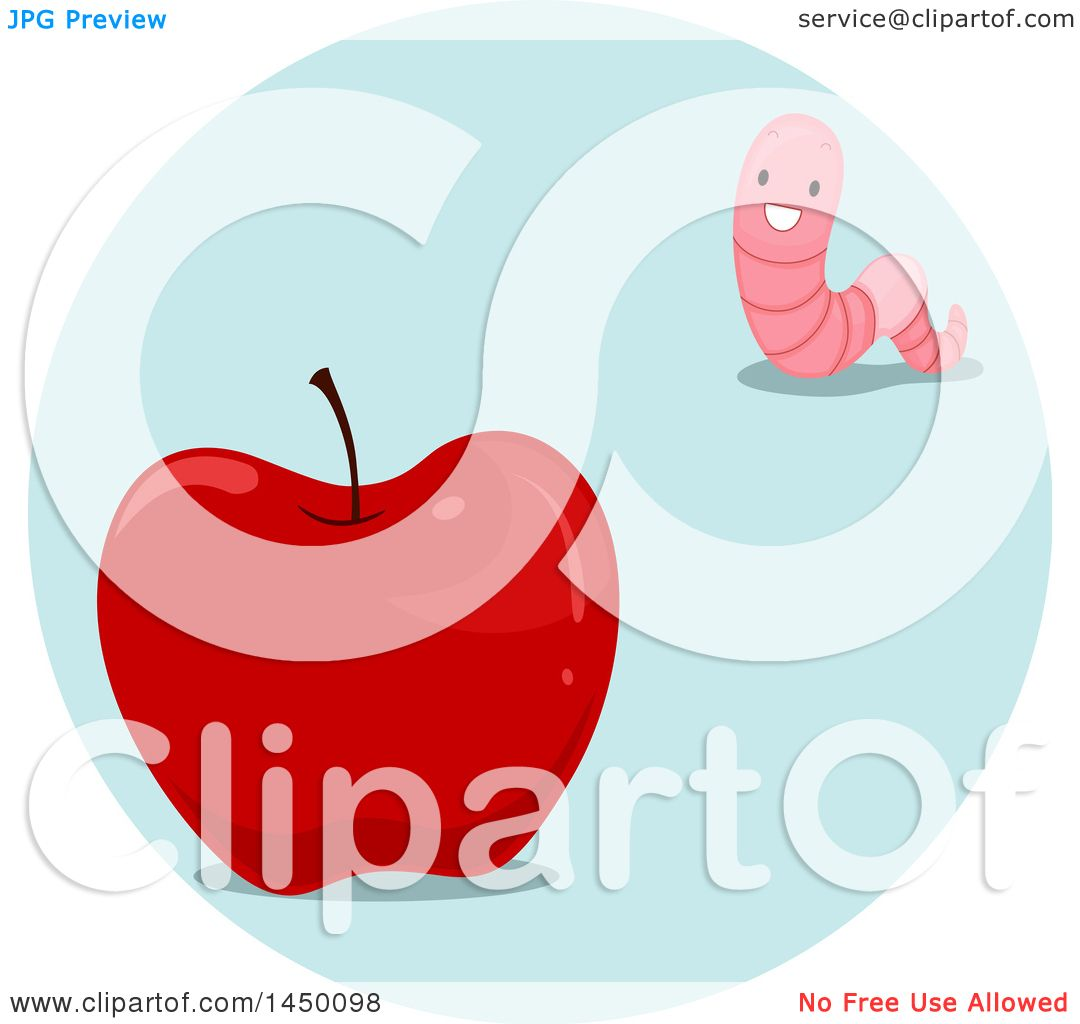 Clipart Graphic Of A Happy Preposition Worm Far From An Apple