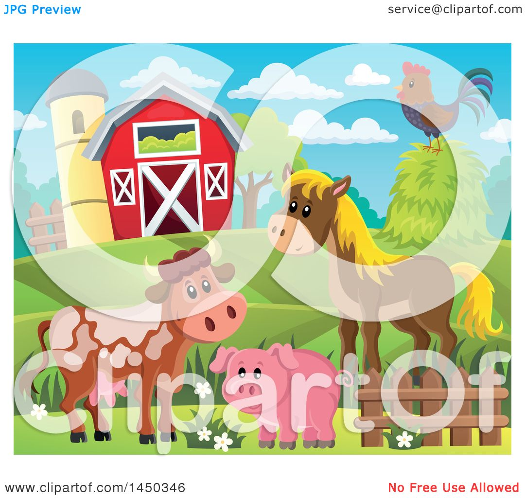 Clipart Graphic Of A Horse Pig Cow And Chicken In Front Red Barn Silo The Spring Or Summer