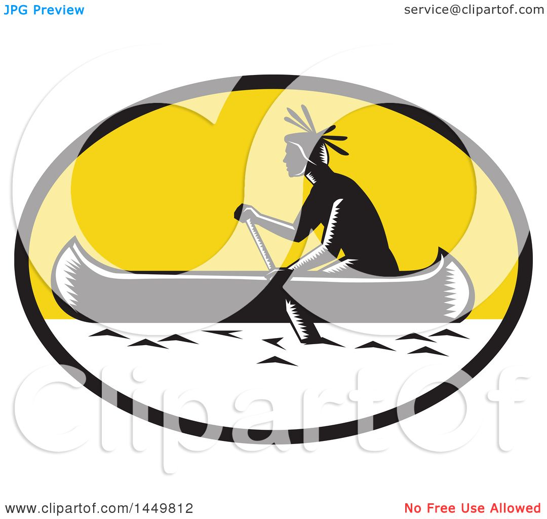 Clipart Graphic Of A Retro Black And White Woodcut Native American Indian Paddling Canoe In Yellow Oval
