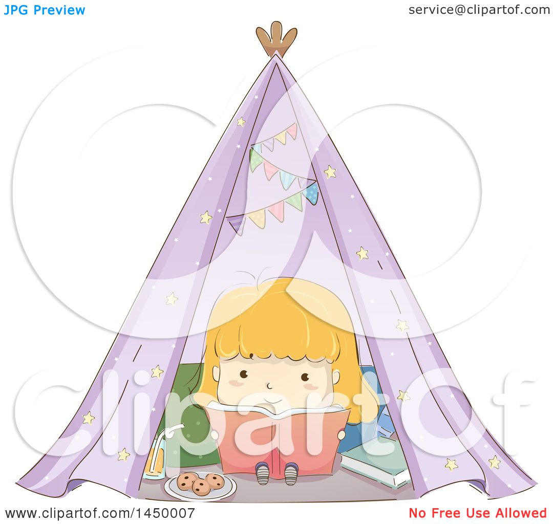 Clipart Graphic of a Sketched Blond White Girl Reading a Book in a Tent - Royalty Free Vector Illustration by BNP Design Studio  sc 1 st  Clipart Of & Clipart Graphic of a Sketched Blond White Girl Reading a Book in a ...