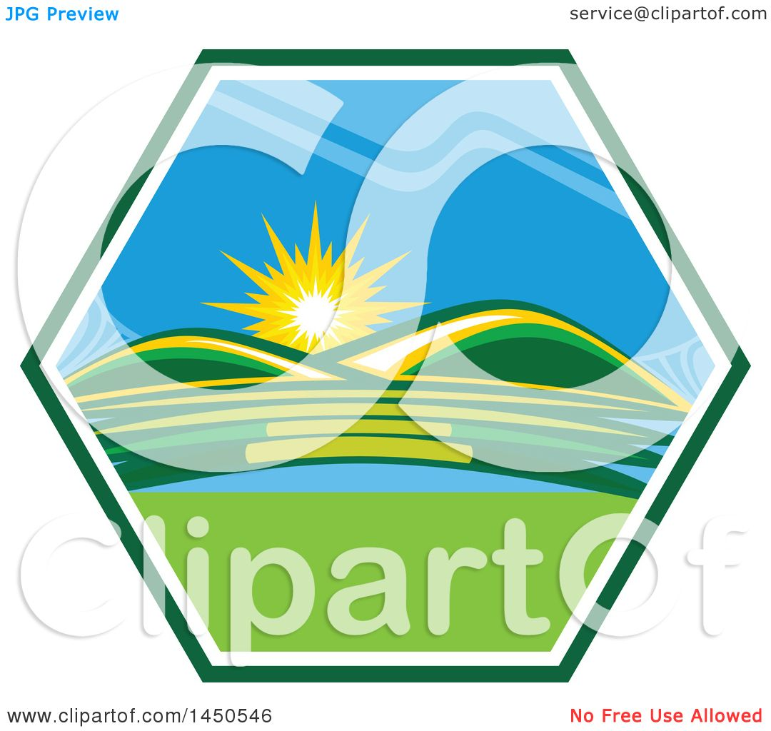 Landscape Illustration Vector Free: Clipart Graphic Of A Sunny Landscape With Hills And A