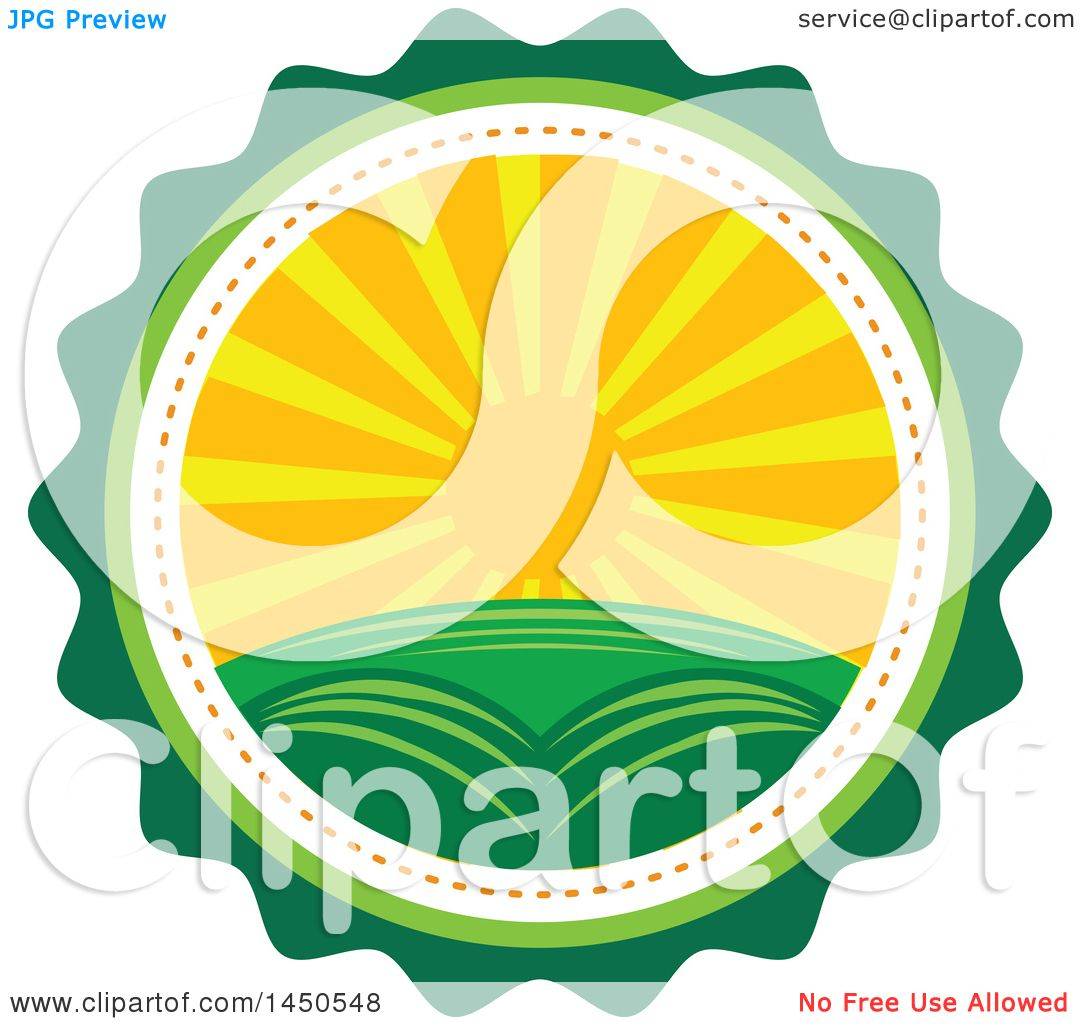 Landscape Illustration Vector Free: Clipart Graphic Of A Sunset Landscape With Hills In A
