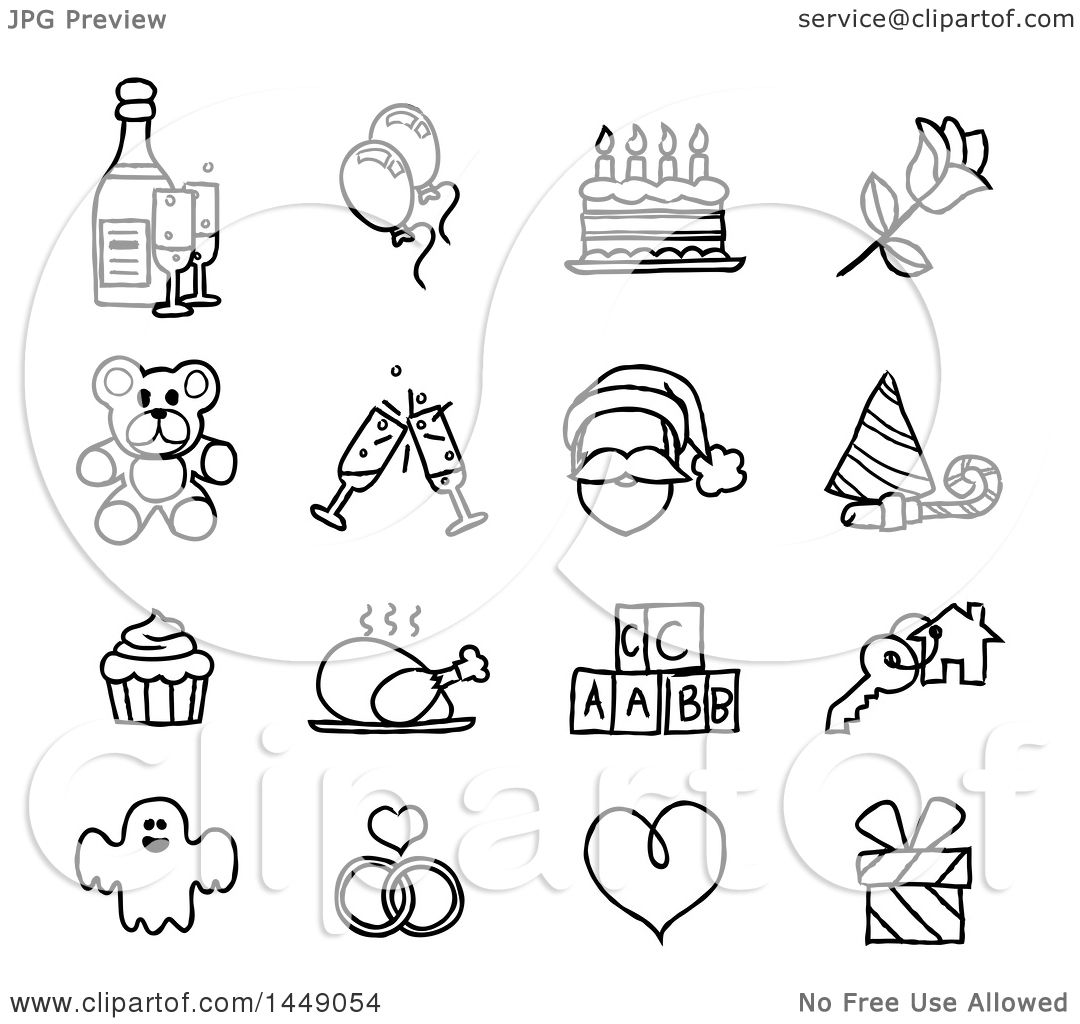 Clipart Graphic Of Black And White Sketched Life Event Holiday Icons