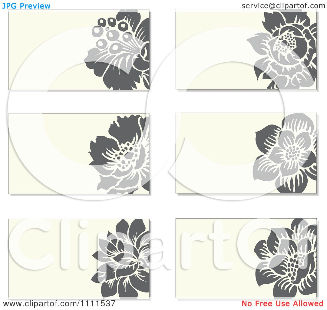 Clipart Gray Flowers And Beige Business Card Designs - Royalty ...