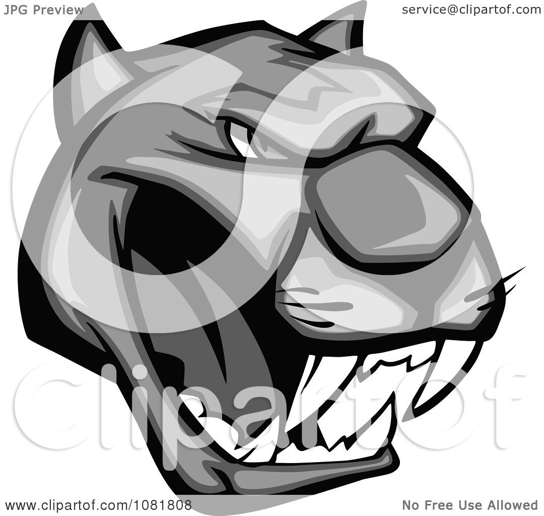 Black Panther Growling Royalty Free Stock Image: Clipart Grayscale Growling Panther Head