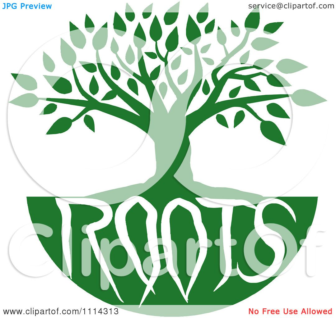 Clipart Green Family Tree With Roots Text - Royalty Free Vector ...