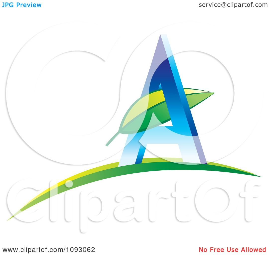 Clipart Green Leaf And Blue Letter A Logo - Royalty Free Vector ...
