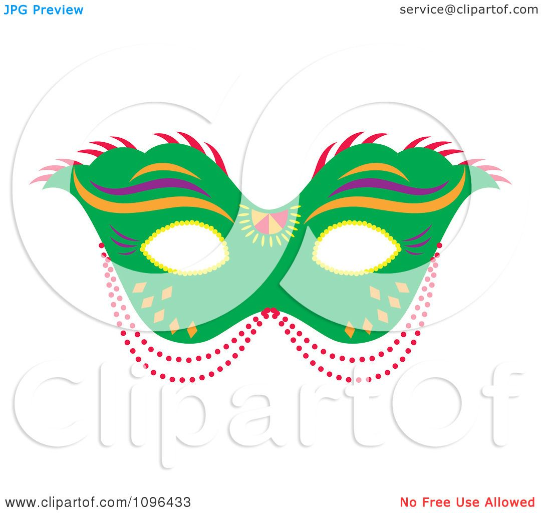 Clipart Green Mardi Gras Face Mask With Beads - Royalty Free ...