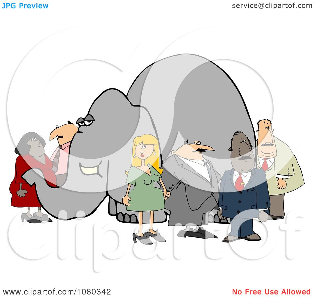 clipart group of people ignoring the elephant in the room