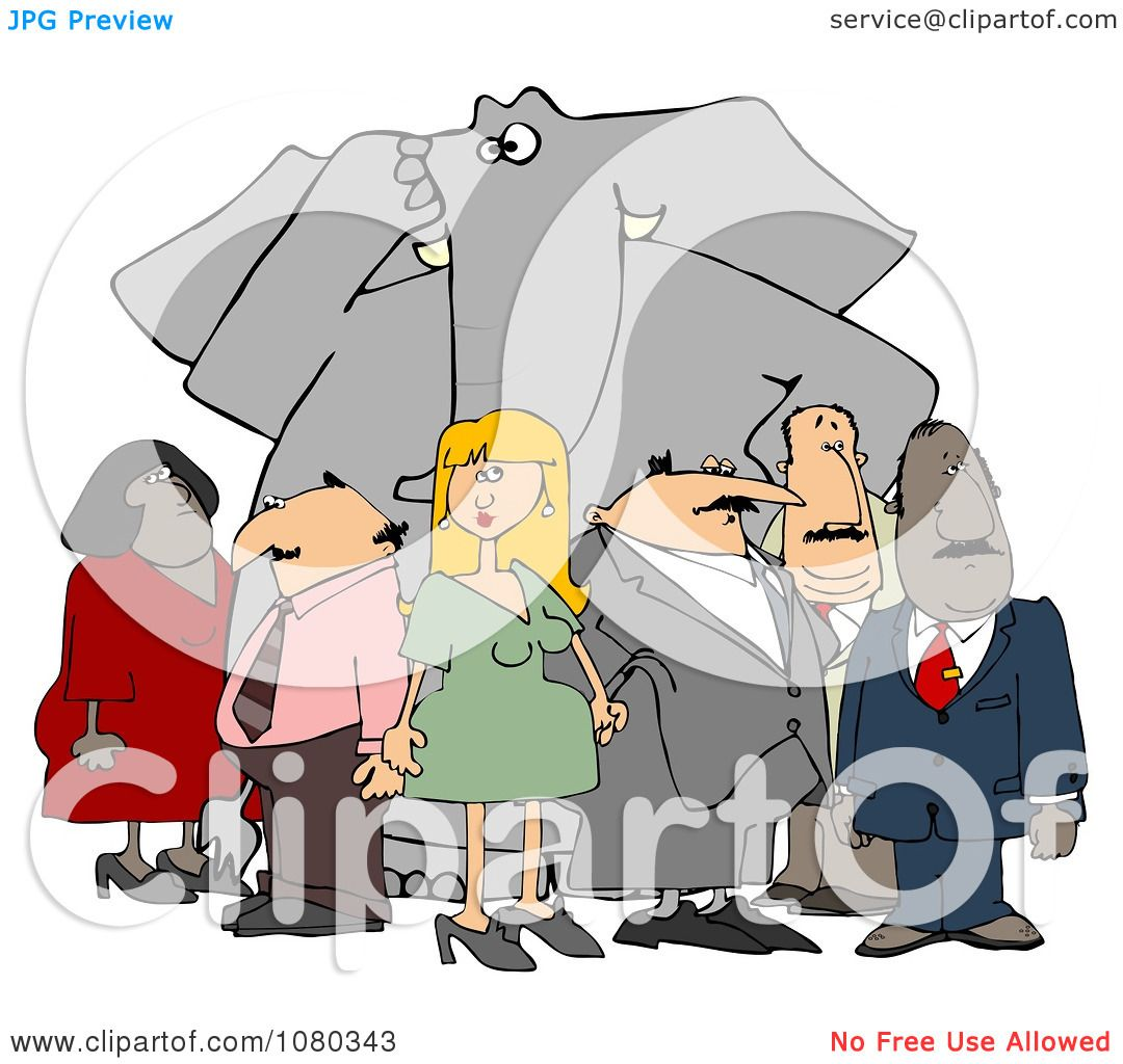Clipart Group Of People Ignoring The Elephant In The Room ...