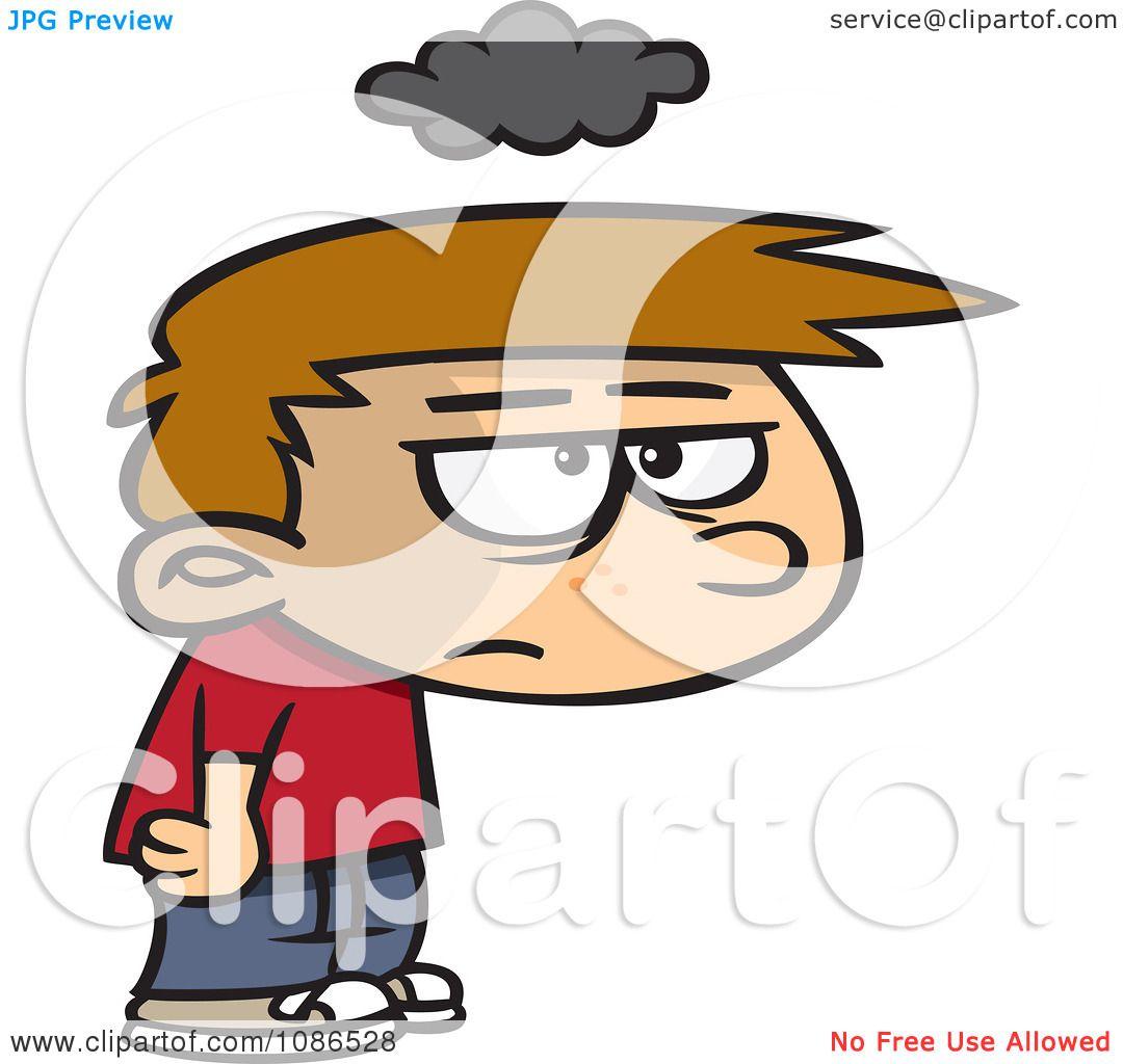 Clipart Grumpy Boy Under Cloud Gloom Royalty Free Vector