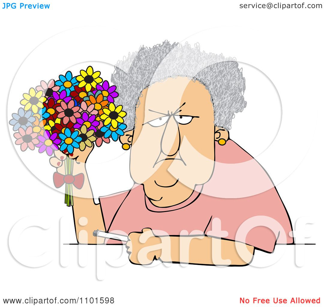 Clipart Grumpy Old Lady Holding Bouquet Daisies And Cigarette