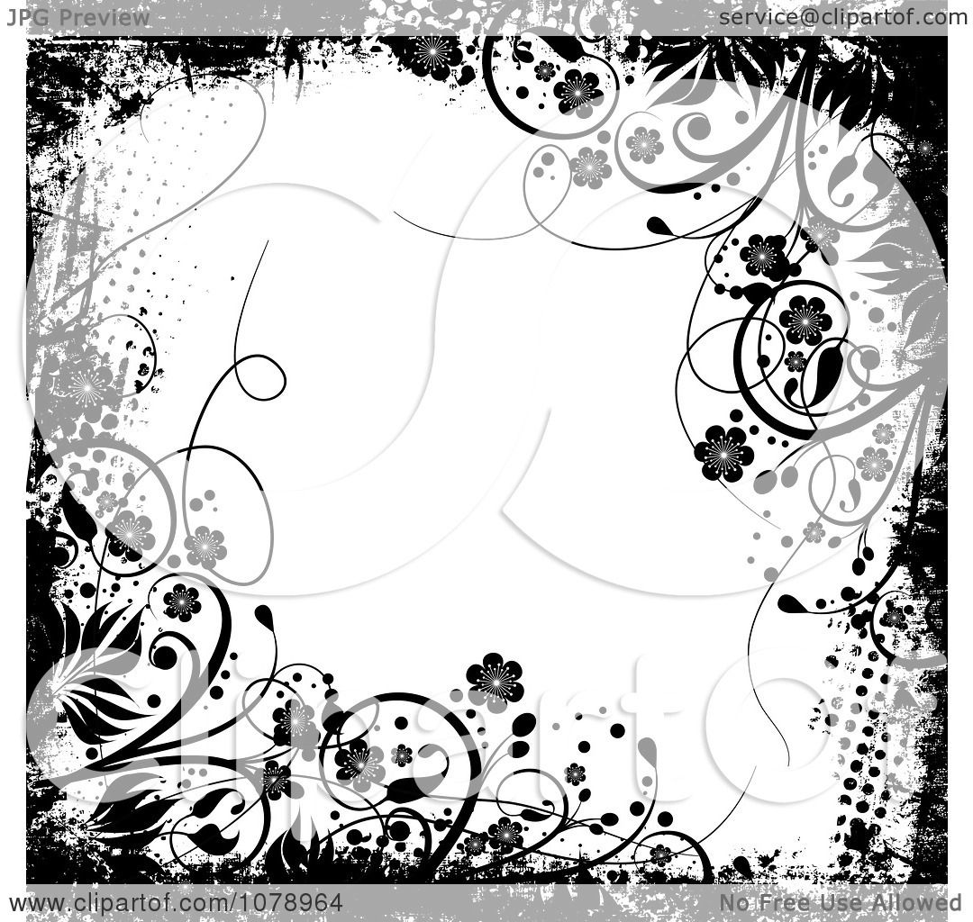 Black Flower On White Background Royalty Free Stock: Clipart Grungy Black And White Floral Background With