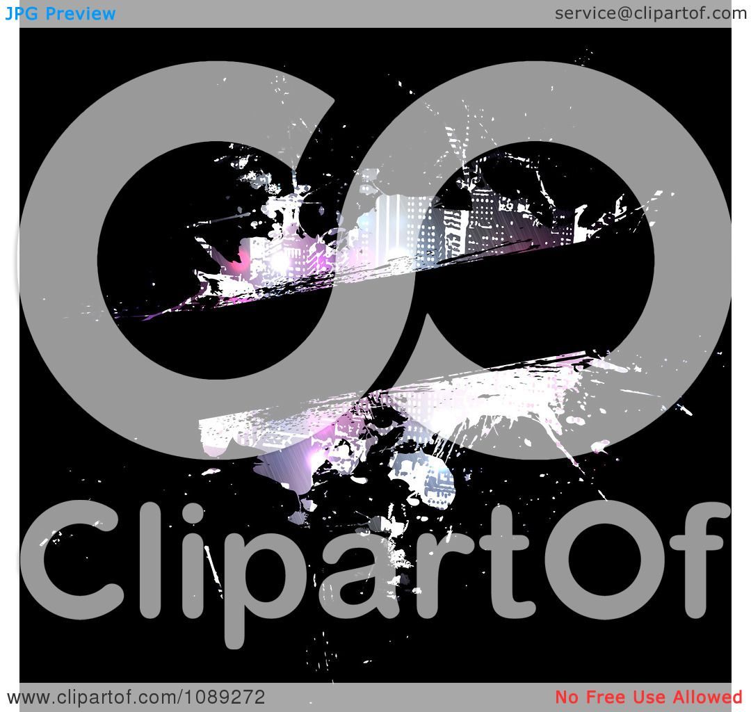 Clipart Grungy City Paint Splatter Template On Black