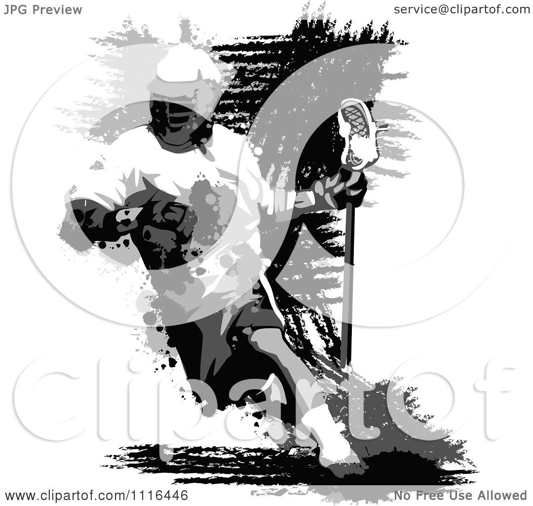Clipart Grungy Grayscale Lacrosse Player Royalty Free