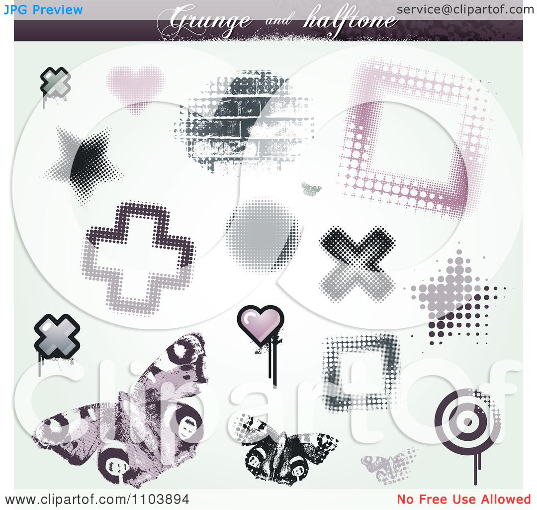 Clipart Grungy Halftone Star Cross Brick Heart Butterfly