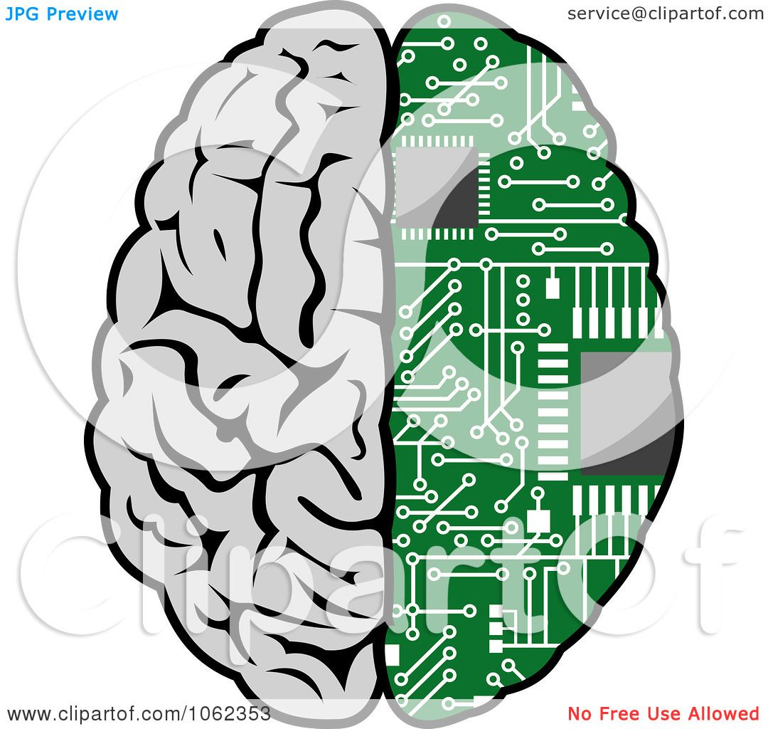 Circuit Brain Reusable : Clipart half human circuit board brain royalty free