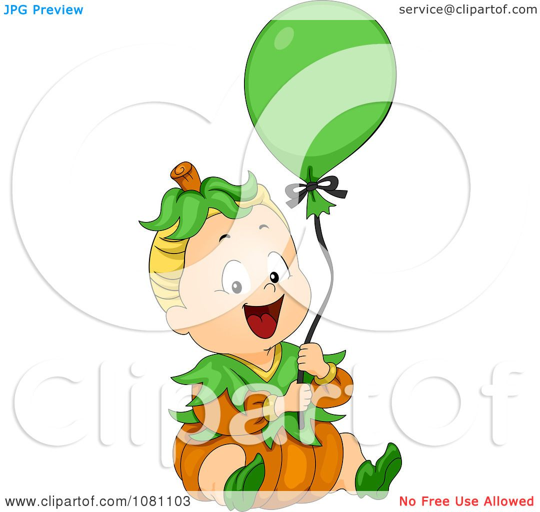 Clipart Halloween Baby In A Pumpkin Costume With A Balloon ...
