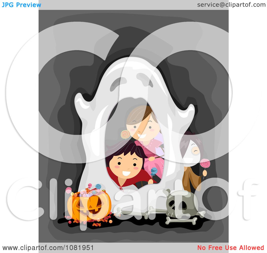 Clipart Halloween Kids Peeking Through A Ghost Frame