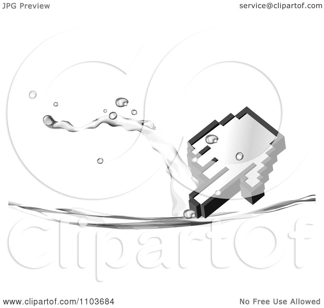 Clipart Hand Computer Cursor And Water Splash On White