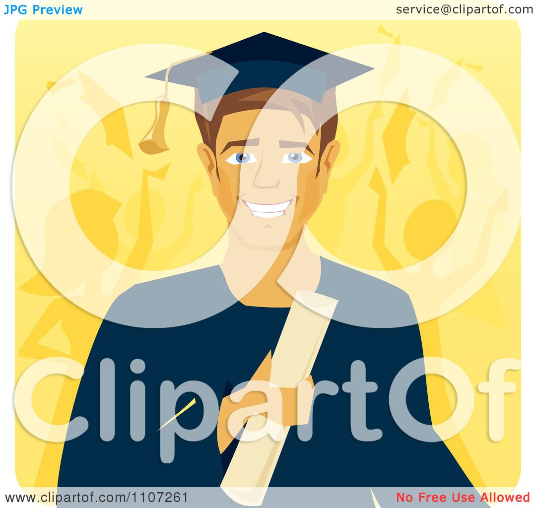 Clipart Handsome Male Graduate Holding A Diploma With People Celebrating In The Background