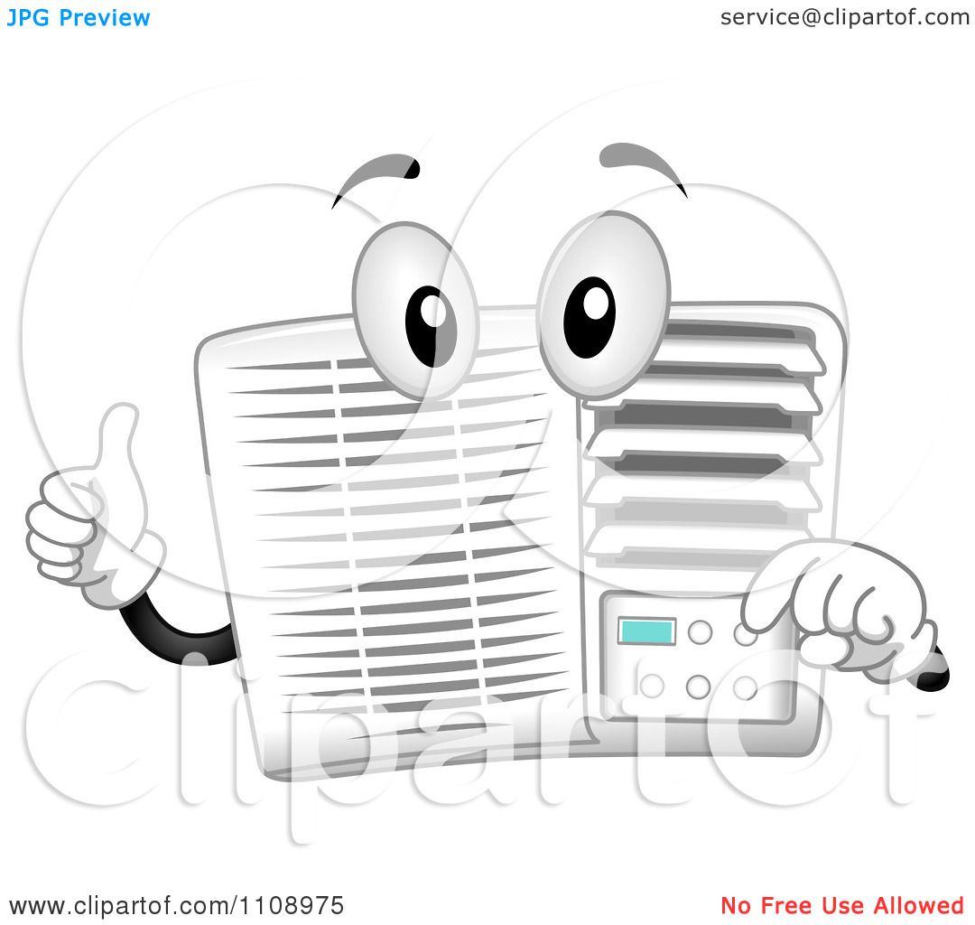 clipart happy air conditioner mascot holding a thumb up