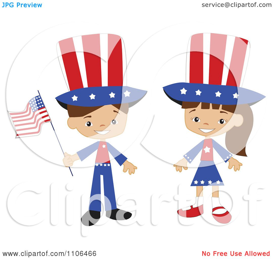 Clipart Happy American Kids In Independence Day Costumes - Royalty ...