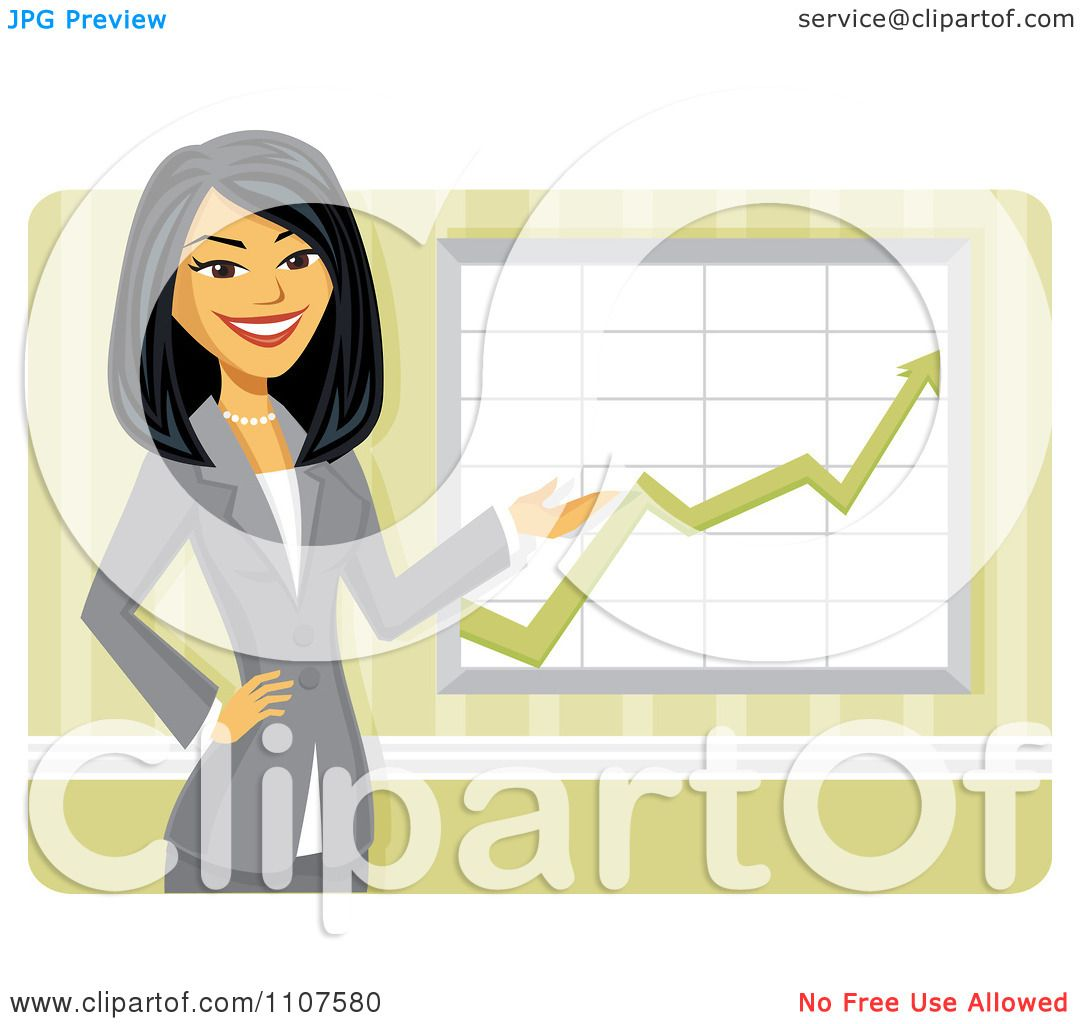 Clipart Happy Asian Businesswoman Discussing Company Growth ...