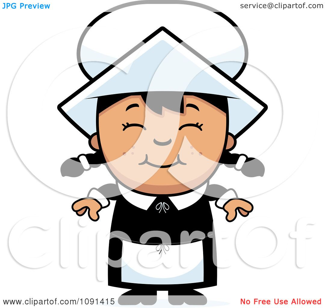 clipart happy asian pilgrim girl royalty free vector illustration rh clipartof com free clip art pilgrim hat