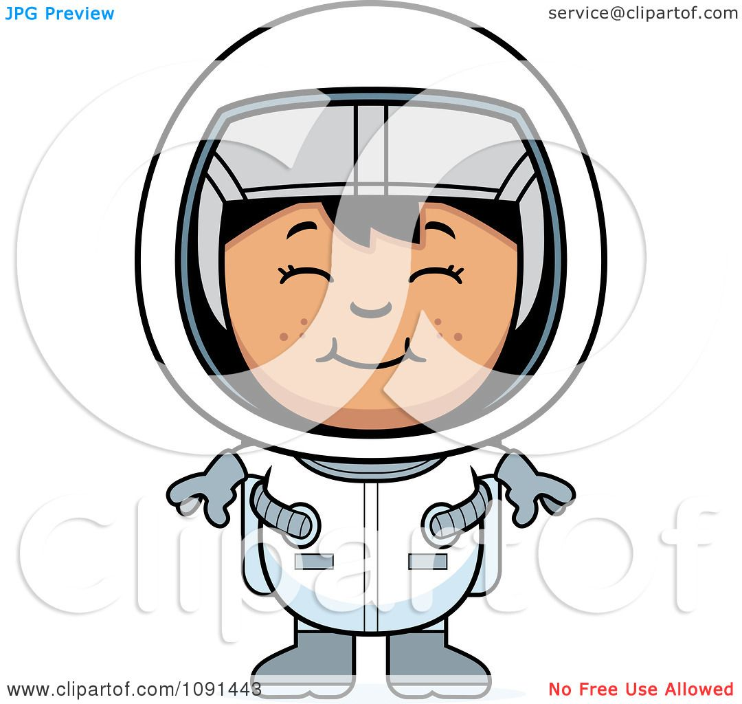 Clipart Happy Astronaut Girl Royalty Free Vector
